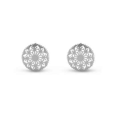 Round Snowflake Earrings