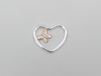 Rose Gold Butterfly in Heart Pendant