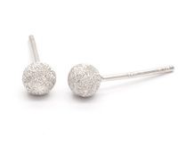 Diamond Cut Round Dome (4mm) Earrings