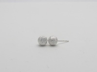 Diamond Cut Round Dome (6mm) Earrings