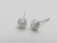 Straight Lines Half Dome (5mm) Earrings