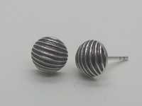 Straight Lines Half Dome (8mm) Earrings