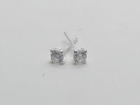 3mm Square Prong Solitaire Earrings