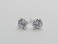 6mm Square Prong Solitaire Earrings