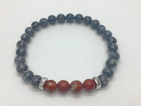 Nuggets with Gray-Red Beads (23cm-9in- Bracelet