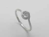 Clear Solitaire Swirl Ring