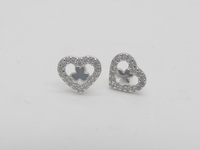 Clear Clover Hearts Earrings