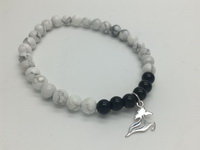 Horse with Black-White Beads (19cm-7.5in) Bracelet