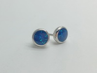 Glitter Blue Cups (6mm) Earrings