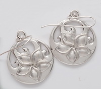 Waves with Matte Plumeria Flower Earrings