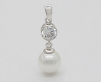 10mm Pearl Drop (6mm CZ) Pendant