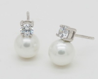 8mm Pearl Drops (4mm CZ) Earrings