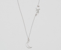 Double Star & Moon Cutout (18-2 in -46-5cm-) Necklace