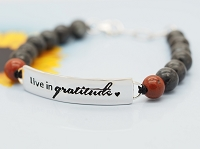 Live in gratitude (Red-Gray - 19-5cm -7.5-2in-) Cord