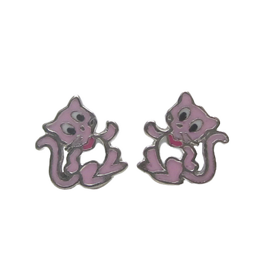 Pink Kitty Cat (10mm) - Earrings