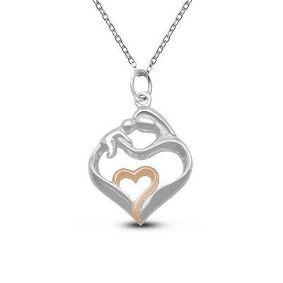 Matte Mother & Child Heart Pendant