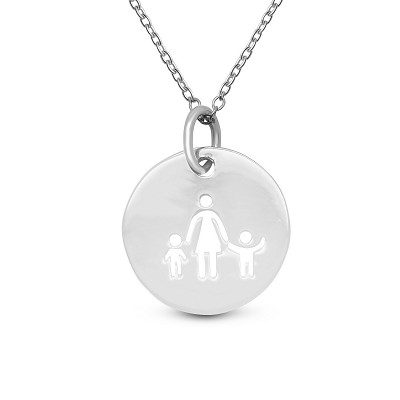 Single Mom & 2 Children Coin Pendant