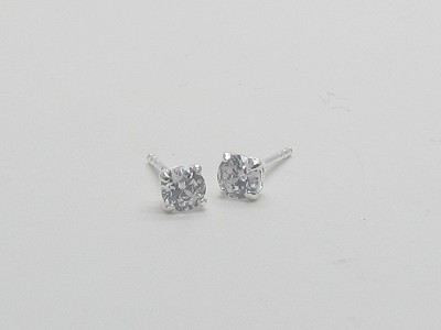 4mm Square Prong Solitaire Earrings
