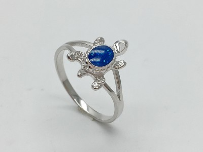 Glitter Sea Blue Turtle Ring
