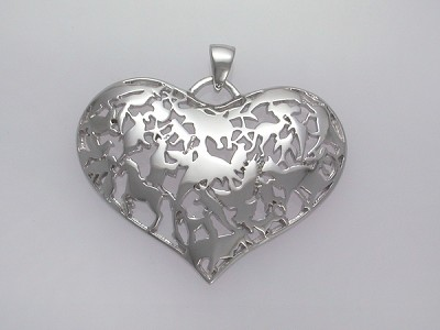 Animals in Heart Pendant