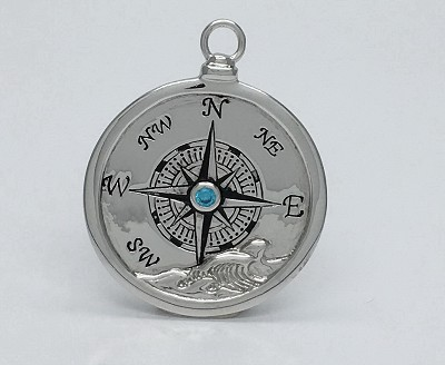 Blue Retro Compass (Large) Pendant