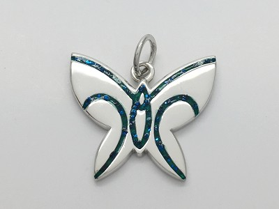 Green Blue Butterfly Pendant