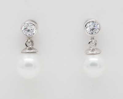 8mm Pearl Droplets (4mm CZ) Earrings