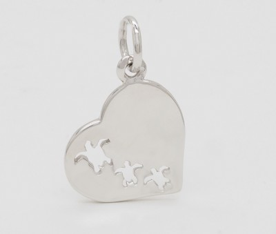 Swimming Turtles in Heart Pendant